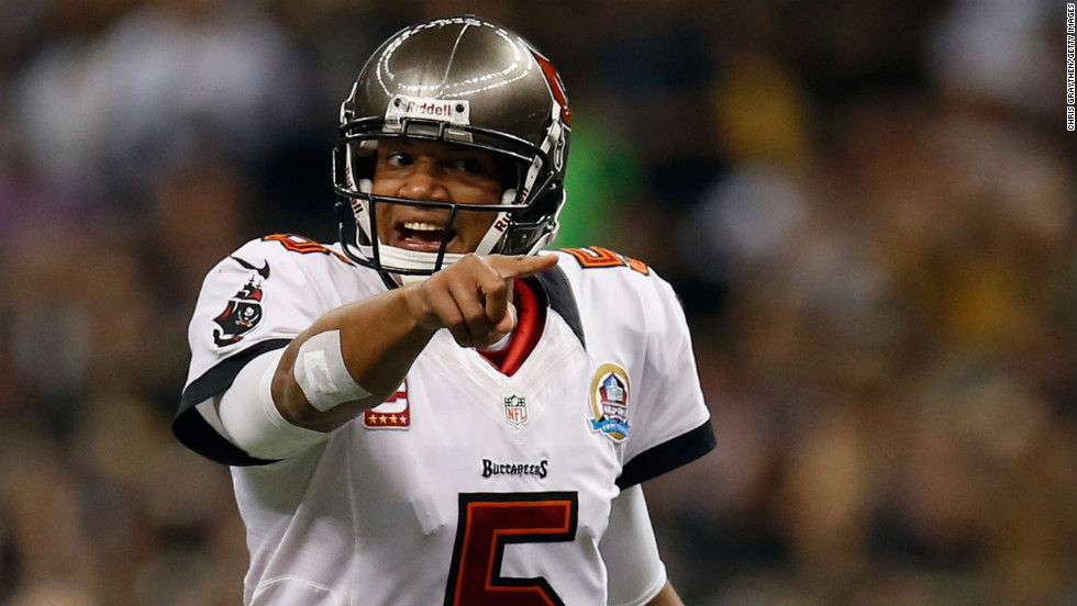 Josh Freeman of the Tampa Bay Buccaneers reacts to a play against the New Orleans Saints on Sunday.