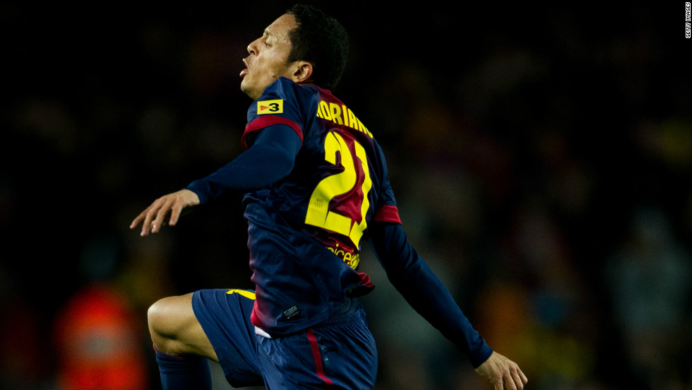 Adriano's stunning curling effort brings Barcelona level with nine minutes of the first-half remaining. The full-back turned on to his left-foot before sending an unstoppable strike into the top corner of the Atletico net to make it 1-1.