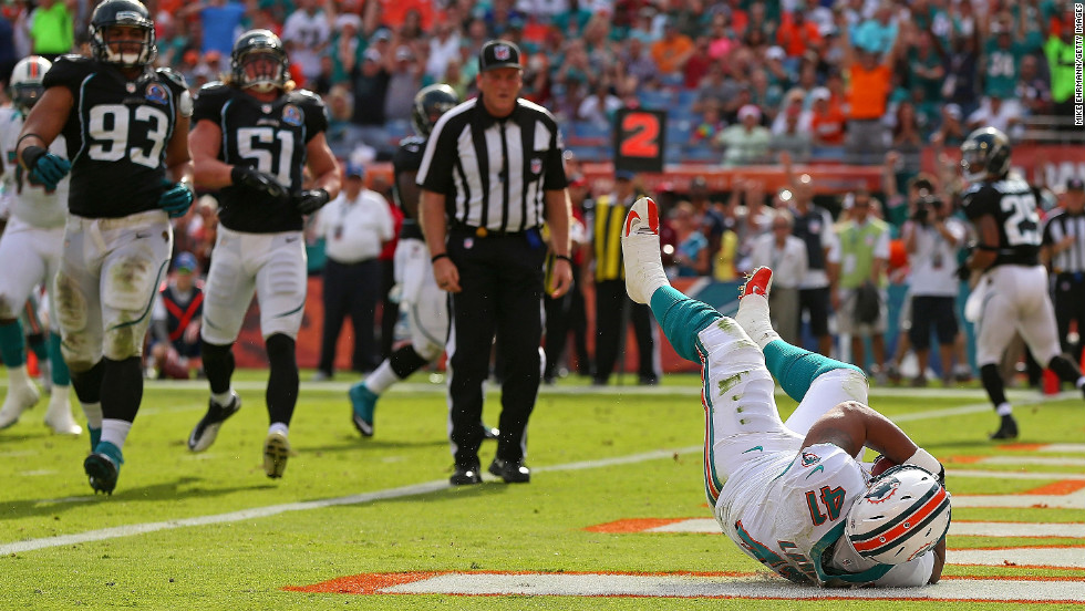 Jorvorskie Lane of the Miami Dolphins catches a touchdown pass during a game against the Jacksonville Jaguars at Sun Life Stadium on Sunday, December 16, in Miami Gardens, Florida.