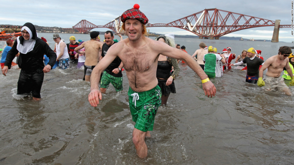 Every year around a 1000 New Year revellers brave freezing conditions in the River Forth in front of the Forth Rail Bridge during the annual Loony Dook Swim. <br /><br />Similar sub-zero New Year soaks are found across the chillier corners of the northern hemisphere from Sweden to Siberia.