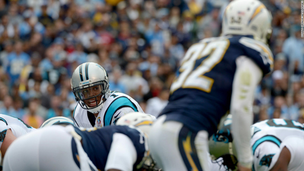 Cam Newton of the Panthers prepares to receive the snap against the Chargers on Sunday.