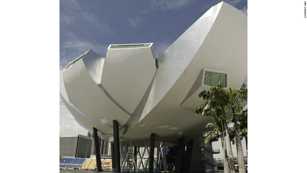 Renewable energy sources and rainwater harvesting have become standard on all buildings in Singapore, including the the  lotus-shaped ArtScience museum nearby which filters light into exhibition spaces.