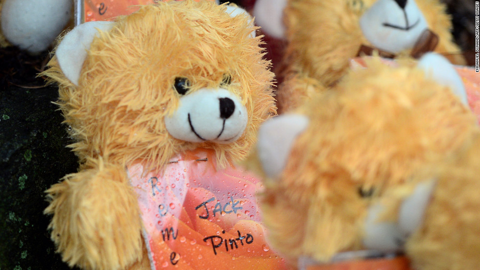 Teddy bears show the names of some of the victims at a makeshift memorial  in Newtown, Connecticut, on December 17.