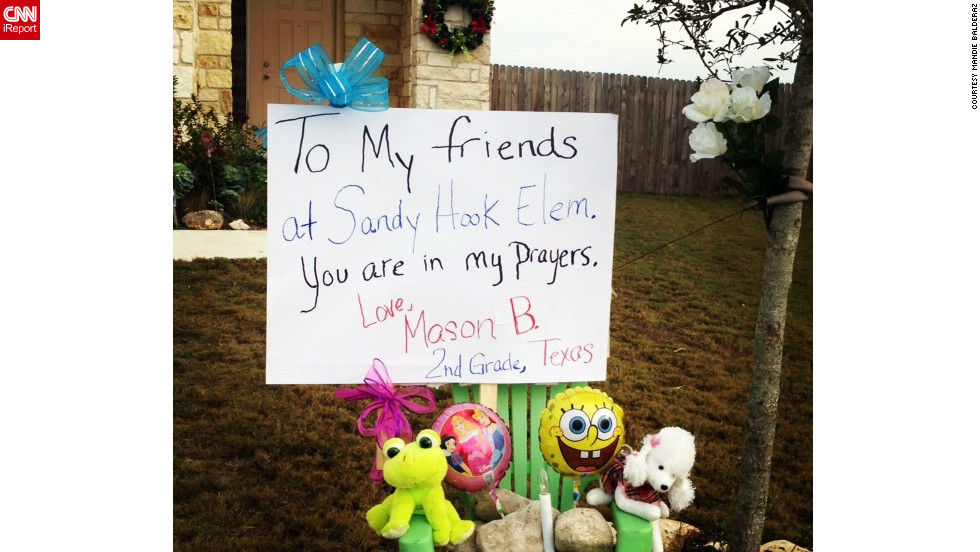 Mandie Balderaz's 8-year-old son was inspired to create his own memorial on his New Braunfels, Texas front lawn.
