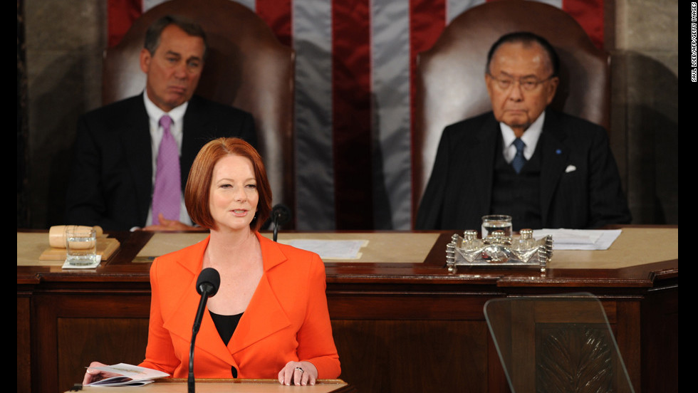 Julia Gillard,  the first woman in Australia to hold the position as prime minister, assumed office in 2010. She made a fiery speech about sexism that drew global attention in October.