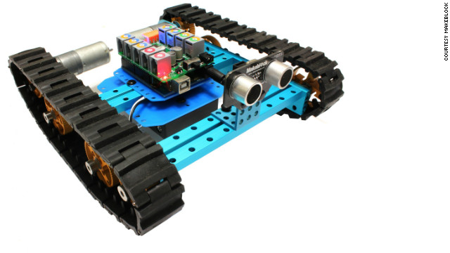As well as mechanical components, a range of sensors are available with Makeblock kits. In this photo a robot with tracks has a proximity sensor fixed to the front, so it won't crash into walls.