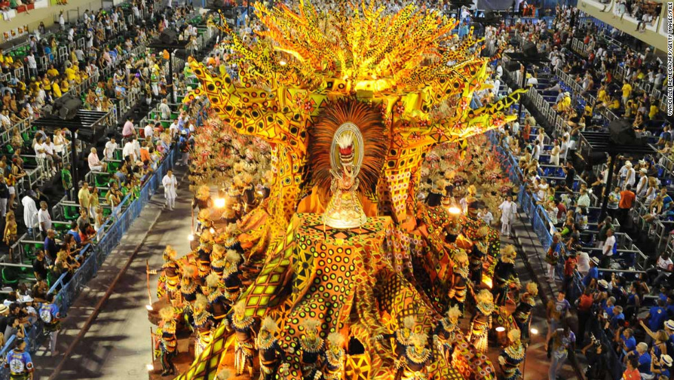 Millions of scantily clad revelers jam the streets for exuberant samba dancing, drumming and wild displays of joy during Carnival in Rio.