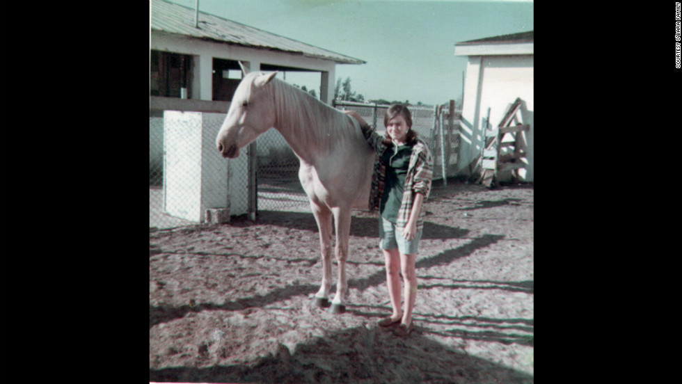 "Edwarda with her horse Moonlight in 1967; at a nearby ranch, the sisters' friendship grew. ""Colleen had horses, and Edwarda had a pony because she was always the cautious one,"" their cousin Pam Burdgick said."