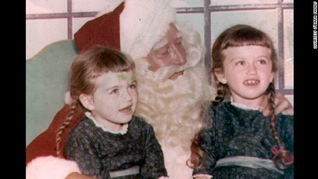 Edwarda and Colleen visit with Santa Claus. It was during Christmas break in 1969 that Edwarda fell into a coma.