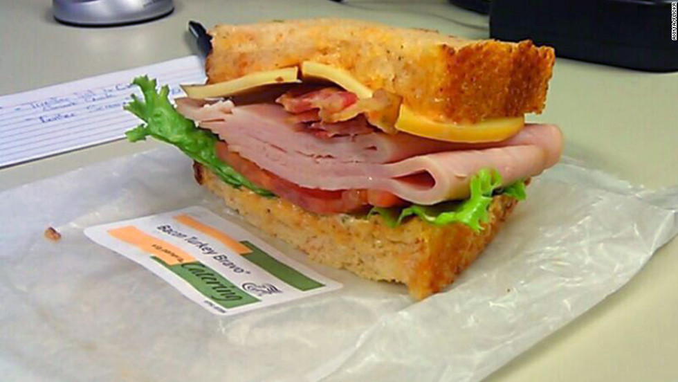 <strong>Panera Bread's Full Bacon Turkey Bravo: </strong>This 800-calorie combination of smoked turkey, Applewood-smoked bacon, and smoked Gouda with lettuce and tomato on a tomato basil loaf tips the sodium scale at 2,800 milligrams. Cured bacon and processed meats are typically high in sodium, Kleiner says. The bread alone weighs in at 320 mg of sodium. <strong>Choose this instead: </strong>A whole Roasted Turkey Artichoke Panini on Asiago Cheese Focaccia. For roughly the same number of calories (780), you'll slash your salt intake by more than half (1,190 mg).