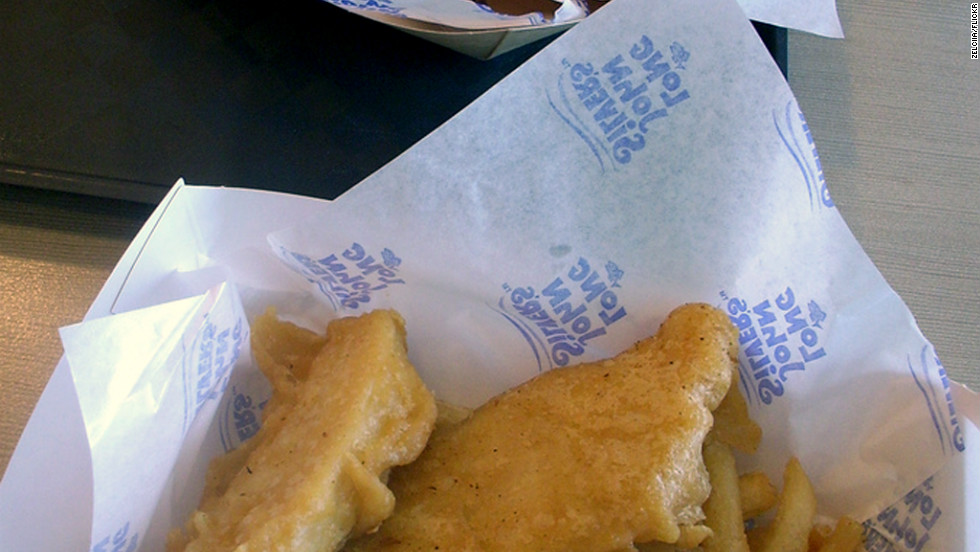 <strong>Long John Silver's 2-Piece Whitefish Fillet Combo:</strong> Cod breaded in a salty batter is the centerpiece of Long John Silver's menu. Two pieces have 1,580 milligrams of sodium. The entire meal, with fries and a medium fountain drink, has 2,140 mg of sodium and 1,230 calories. <strong>Choose this instead:</strong> Skip the combo and order à la carte. Two pieces of tilapia, a hush puppy, a corn cobbette without butter oil and a small Diet Pepsi is a great trade-off. It's a 370-calorie meal with just 760 mg of sodium.