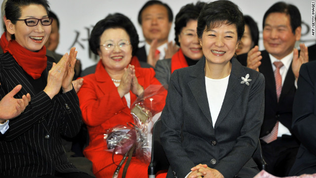 South Korea's president-elect Park Geun-Hye (R) in Seoul on December 20, 2012.