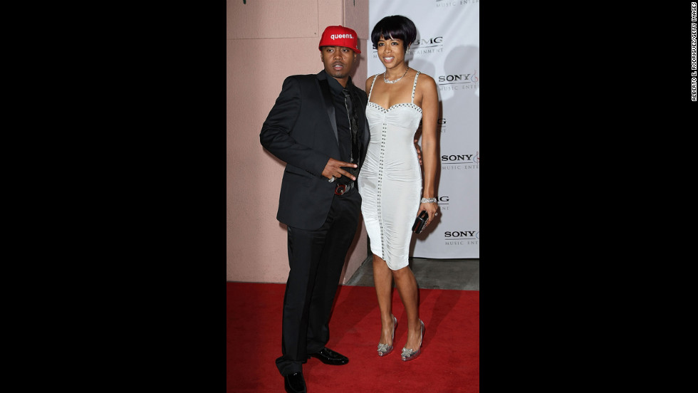 """Nas and Kelis arrive at the 2008 Grammy Awards after party at the Beverly Hilton Hotel. The following year, Kelis filed for divorce from the rapper citing """"irreconcilable differences."""" She was seven months pregnant."""
