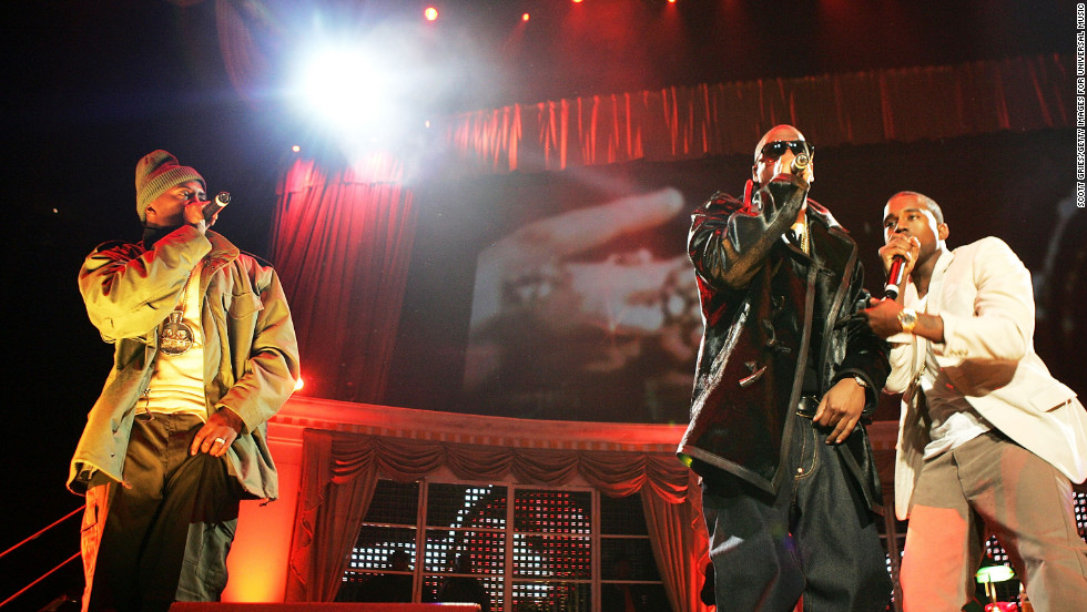 "Nas, left, Jay-Z and Kanye West perform during ""Powerhouse 2005: Operation Takeover"" in East Rutherford, New Jersey. The show marked the end of a years-long beef between Jay-Z and Nas."
