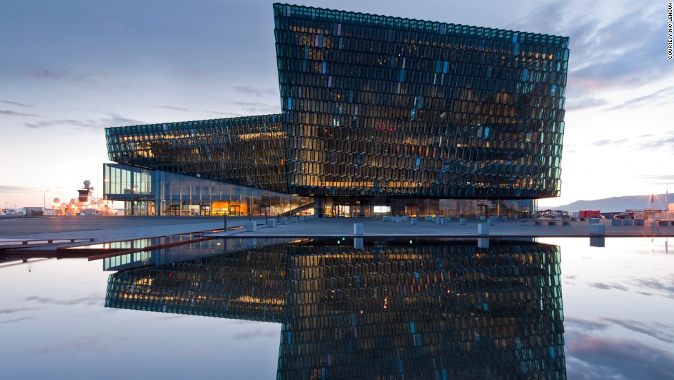 Harpa is a state-of-the-art concert hall and conference center in Reykjavik, Iceland. Its facade is meant to mimic the country's stunning glacial surrounds.