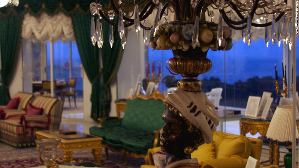A shot of the palace's main living room. About 42,000 items belonging to the former president and his family were confiscated by the state. Those with heritage or historical value, those bearing the emblem of Tunisia, and the former president's personal documents and letters are not being offered for sale. Items valued at less than $6,444 (10,000 Tunisian dinars) can be bought directly, while more expensive items will be put up for auction. Funds raised will go into government coffers to assist with social programs, Tunisian finance ministry spokeswoman Oumaya Sahraoui told CNN.