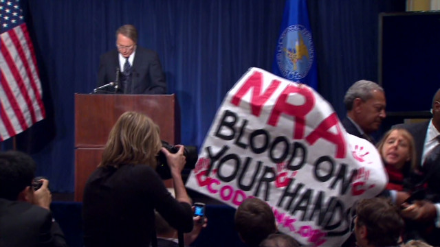 Protesters interrupt NRA statement