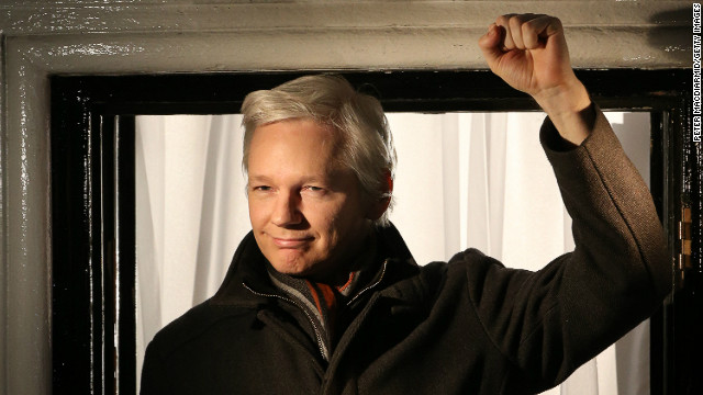 Wikileaks founder Julian Assange speaks from the Ecuadorian Embassy on December 20, 2012 in London, England.