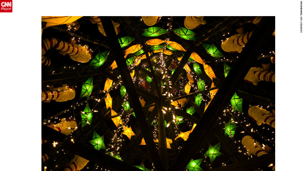 "<a href=""http://ireport.cnn.com/people/Keemalexis "">Kim Tinambacan</a> captured this cool image of a Christmas tree entirely made from recycled materials -- such as plastic, Styrofoam and foils -- in Santa Rosa, the Philippines. ""I decided to take this kind of photo because it really symbolizes the true meaning of Christmas ingenuity here in the Philippines,"" she said."