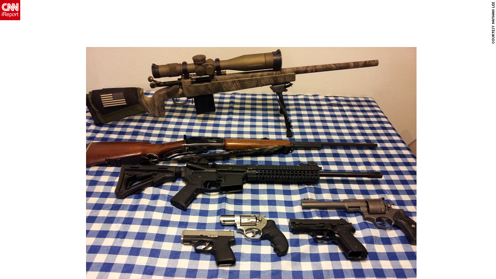"Military style rifles are important to many gun collectors. iReporter Nathan Lee's firearms include a black AR-15 military-style rifle -- seen here second from the top. IReporter Hrothgar-01 said AR-15s are as much a part of the nation's history ""as the muskets carried by pioneers"" and ""the rifles toted by doughboys in the trenches."""
