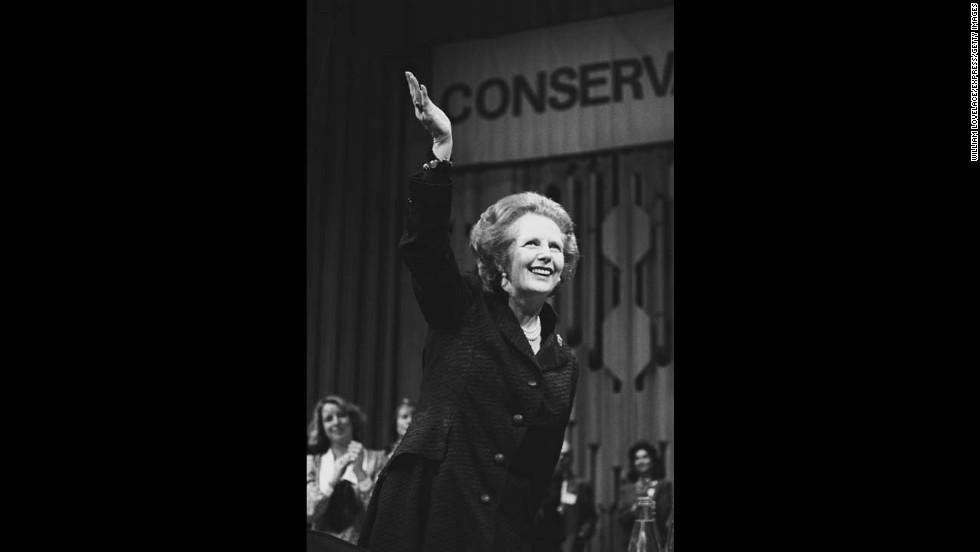 Thatcher addresses the Conservative Party in May 1985.