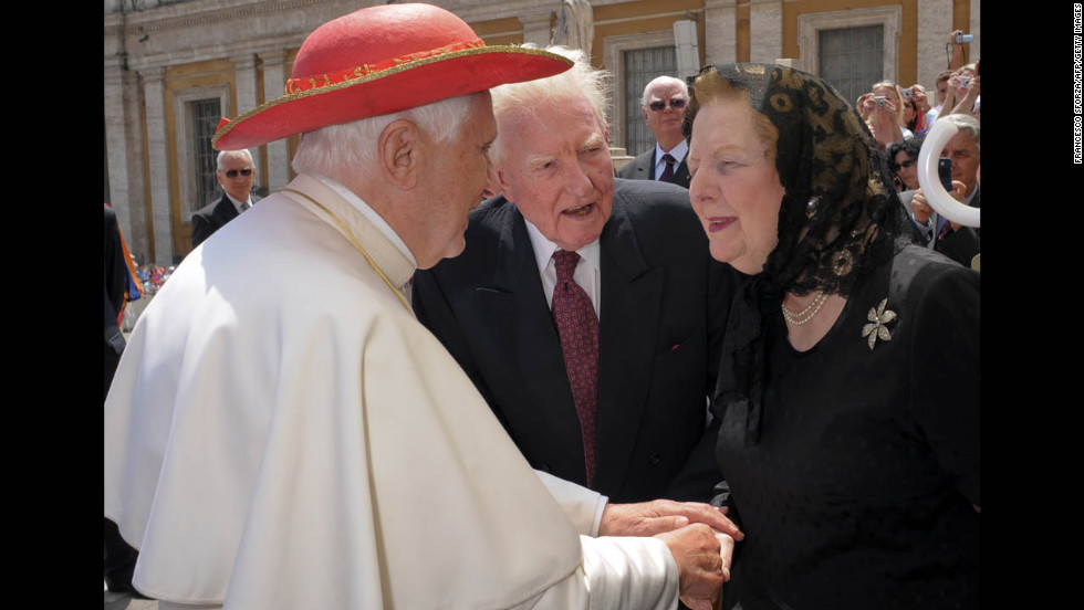 Pope Benedict XVI greets Thatcher in St. Peter's Square at the Vatican in May 2009.
