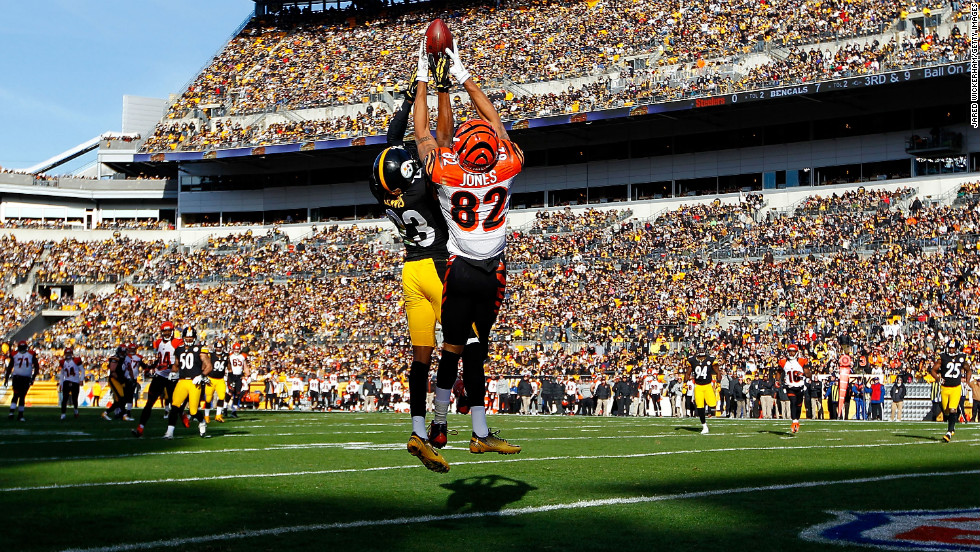 Marvin Jones of the Cincinnati Bengals goes up to catch a pass in the end zone before having it knocked loose by Keenan Lewis of the Pittsburgh Steelers in the first half at Heinz Field on Sunday in Pittsburgh.