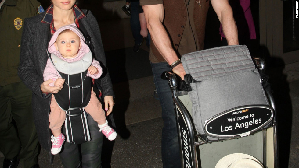 Chris Hemsworth and his family arrive in Los Angeles.