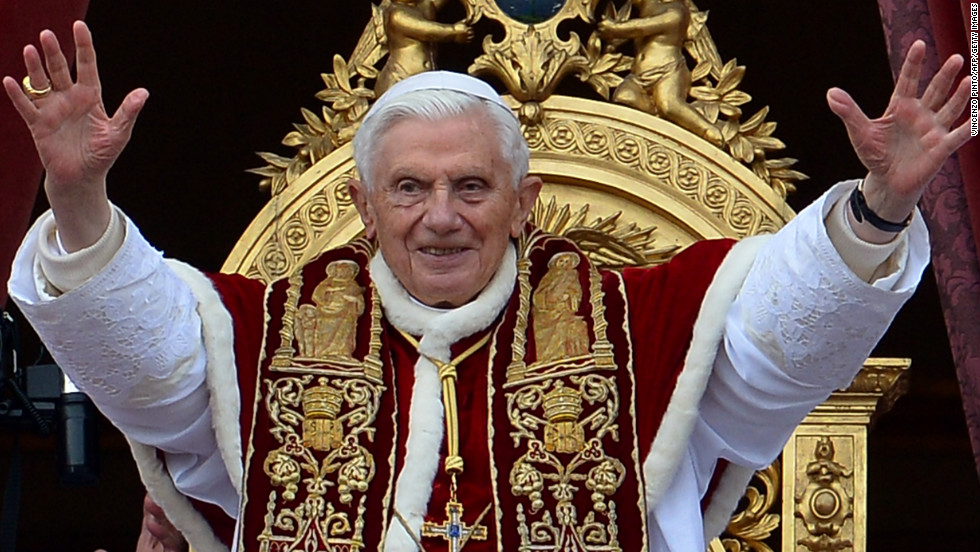 "Pope Benedict XVI delivers his traditional Christmas ""Urbi et Orbi"" blessing from the balcony of St. Peter's Basilica at the Vatican."