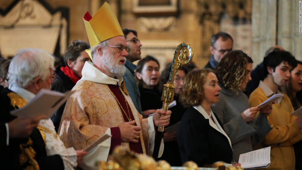 The archbishop of Canterbury, Rowan Williams, takes part in a Christmas Day service at Canterbury Cathedral in Canterbury, England.