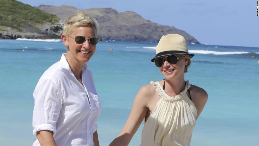 Ellen DeGeneres and Portia de Rossi take a stroll in St. Barts.