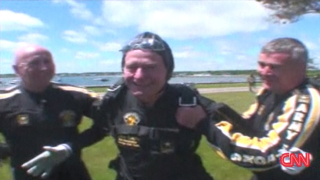 2009: Bush celebrates with skydive