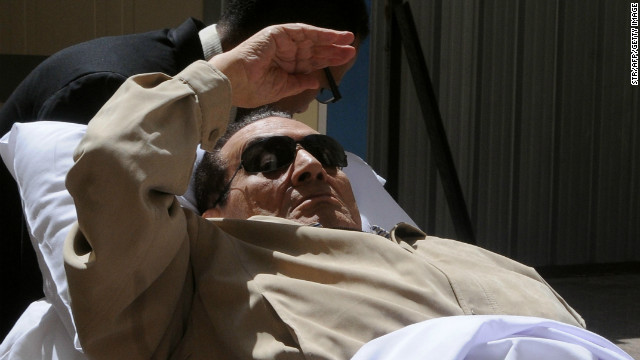 Ousted Egyptian president Hosni Mubarak is wheeled out of a courtroom following his verdict hearing in Cairo on June 2, 2012.