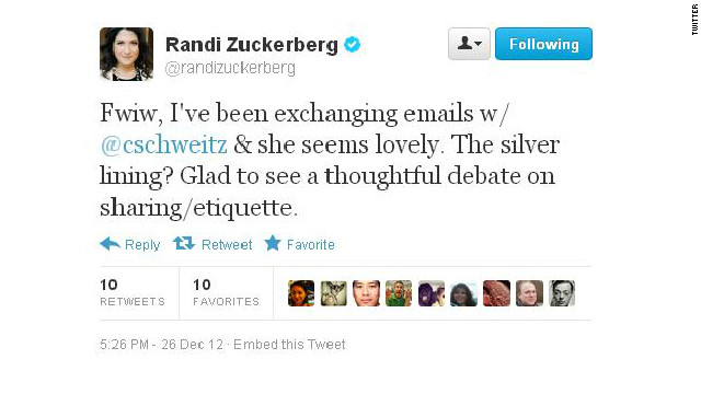 "No hard feelings? Randi Zuckerberg tweeted that a photo flap has spurred ""thoughtful debate"" about online sharing."