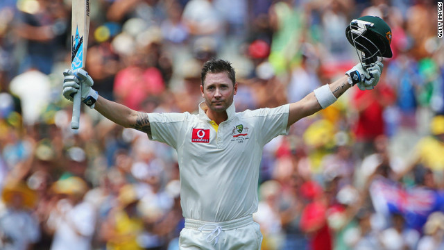 Michael Clarke celebrates as he reaches his century during day two of the second Test against Sri Lanka in Melbourne.