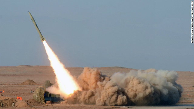 Iranian short-range missile (Fateh) launched during the second day of military exercises, in Iran's Kavir Desert, July 3, 2012.
