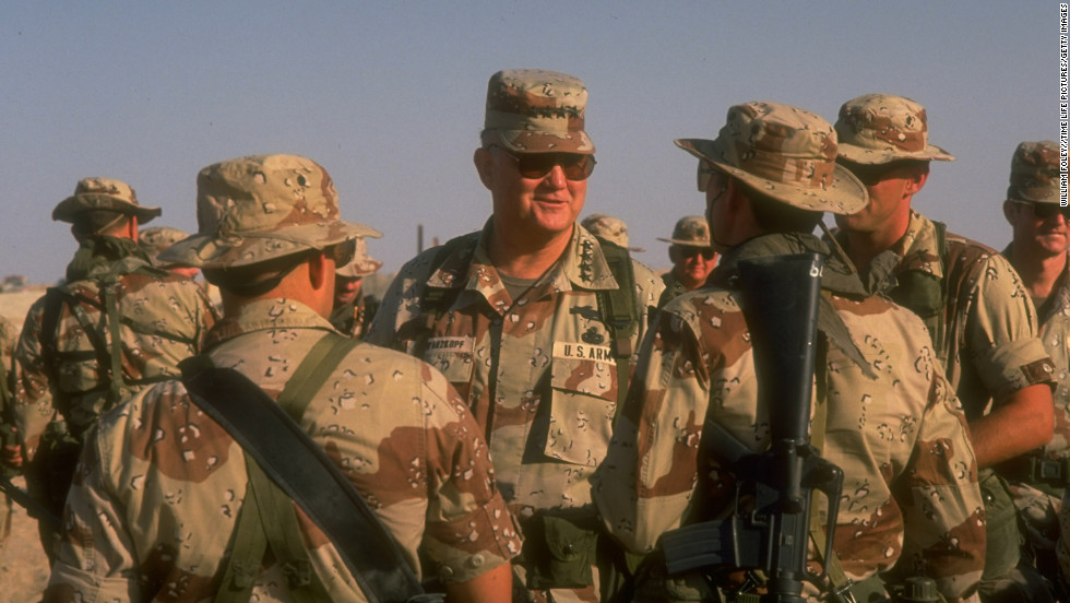 Retired Gen. Norman Schwarzkopf, who commanded coalition forces during the Gulf War, died Thursday, a U.S. official said. He was 78. Operation Desert Shield commander Schwarzkopf, center, with U.S. Special Forces soldiers in US-led allied gulf crisis-containing operations on September 27, 1990.