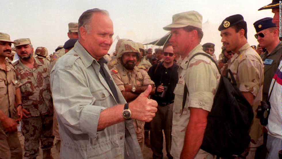 Schwarzkopf gives the thumbs up in Kuwait on April 17, 1994, during the last day of joint Kuwaiti-American-British maneuvers. Schwarzkopf was invited to observe the exercises, the biggest in the emirate since the Gulf War.