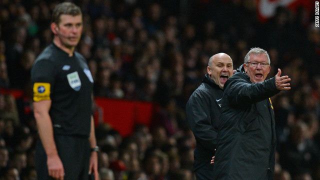 Manchester United manager Alex Ferguson vents his fury during his team's 4-3 win over Newcastle at Old Trafford.