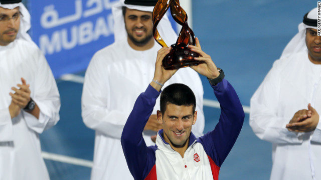 Serbia's Novak Djokovic celebrates winning the Mubadala World Tennis Championship for the second year in a row.