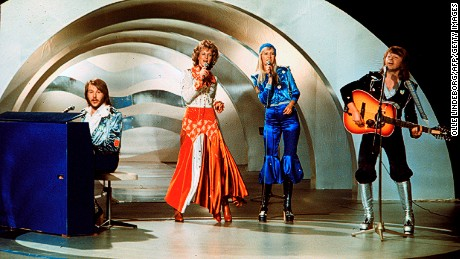 Swedish pop group Abba, performs during the the Eurovision Song Contest 1974 on February 09, 1974 in Brighton with their song Waterloo. Abba won the Eurovision Song Contest in England with 'Waterloo', this was the beginning