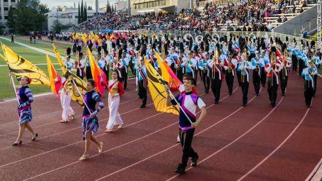 Students from Valley Christian High School in San Jose, California, and Beijing's high school No. 57 combined to rehearse on December 27, 2012, before appearing together in the Rose Parade in Pasadena, California.