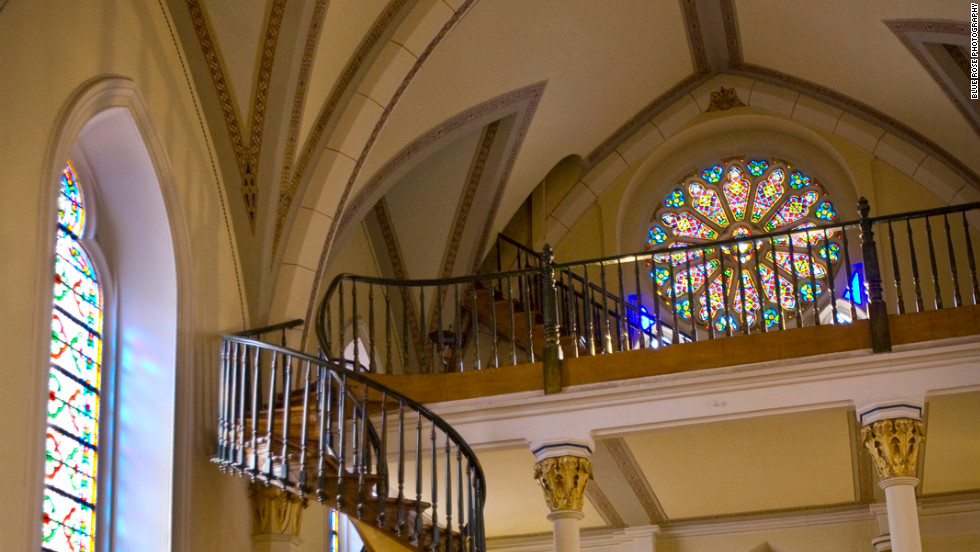 The Loretto Chapel in Santa Fe, New Mexico. The Gothic Revival church's spiral staircase is a woodwork masterpiece.
