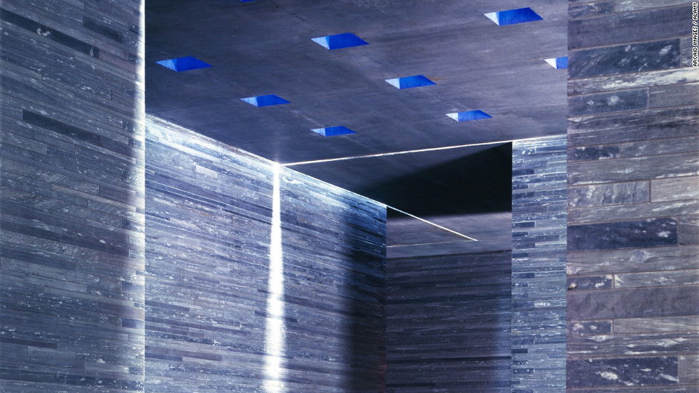 The Thermal Vals (bath) in Vals, Switzerland. Slabs of Valser quartzite create a watery labyrinth that's by turns minimalist and quasi-industrial.