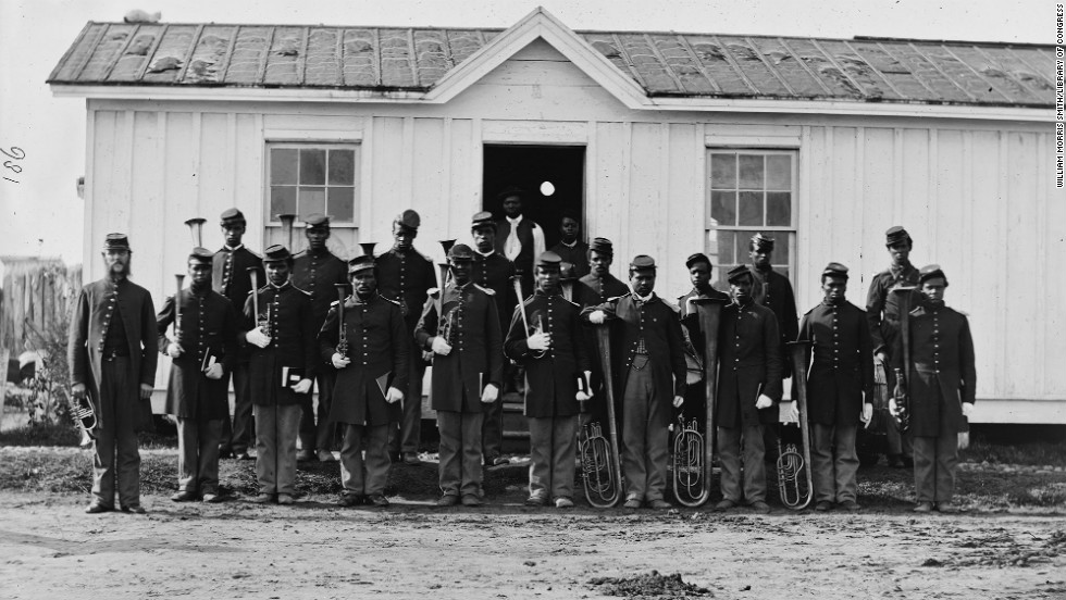 Band of 107th U.S. Colored Infantry at Fort Corcoran in Arlington, Virginia, in 1865.