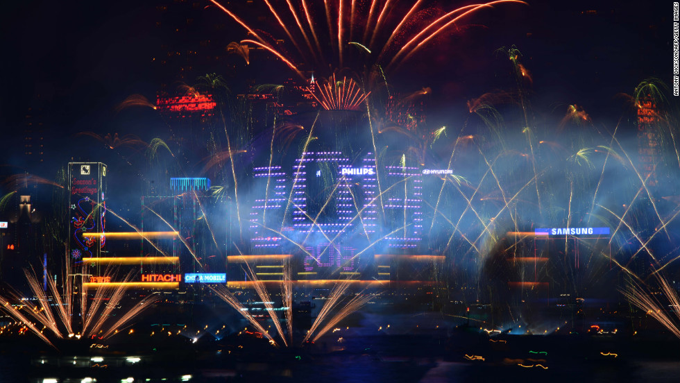 Fireworks explode over Victoria Harbour to celebrate the new year in Hong Kong.