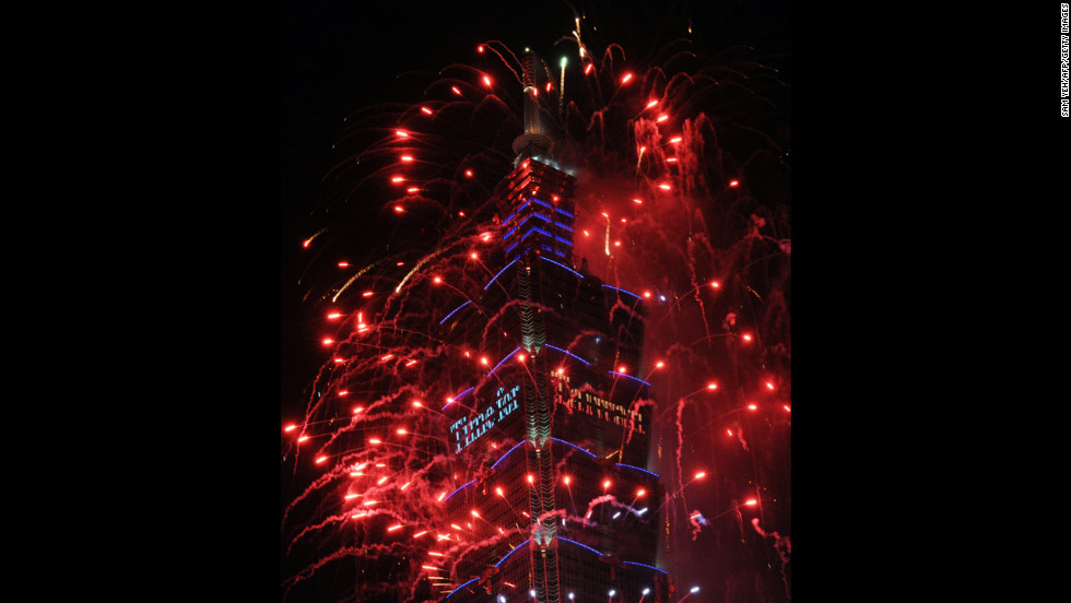 Fireworks are launched from the Taipei 101 building to mark the new year in Taiwan. The 509-meter skyscraper was once the world's tallest building.