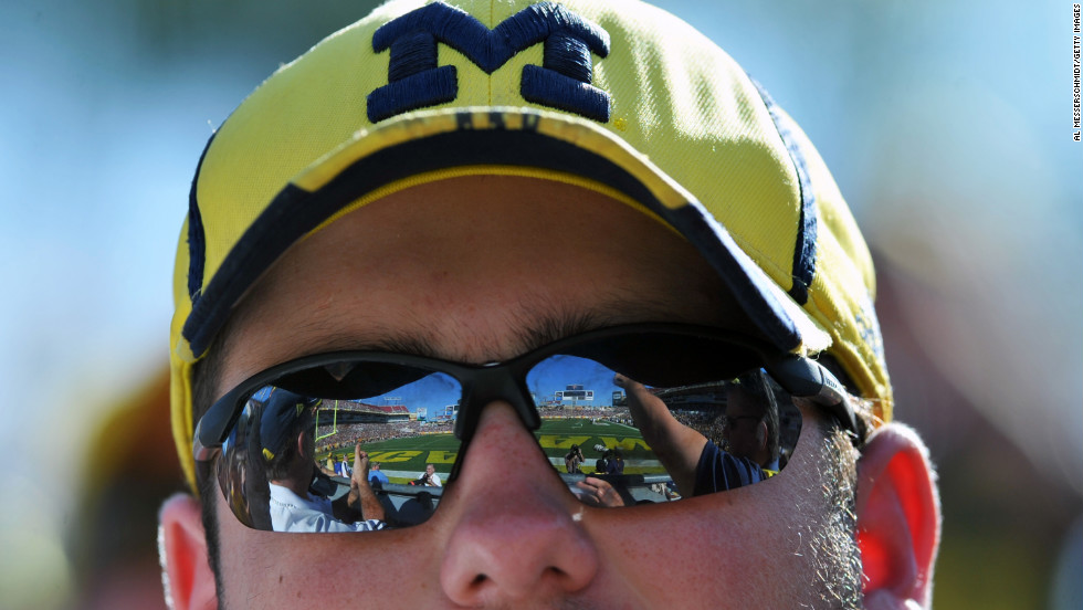 A Michigan Wolverines fan watches the game against the South Carolina Gamecocks on January 1.