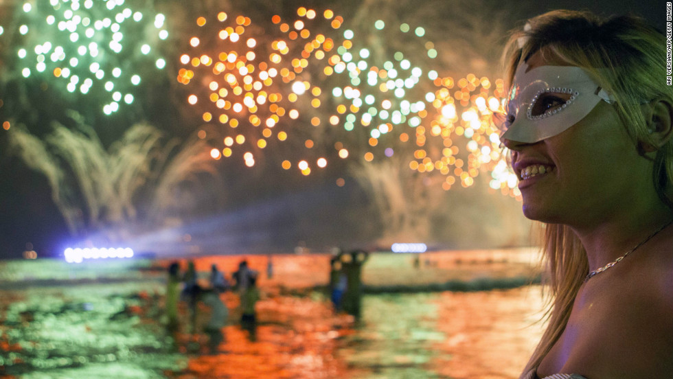 Fireworks light up the sky along Copacabana Beach in Rio de Janeiro, Brazil. More than 2 million people gathered along Rio's most famous beach to bring in the new year.