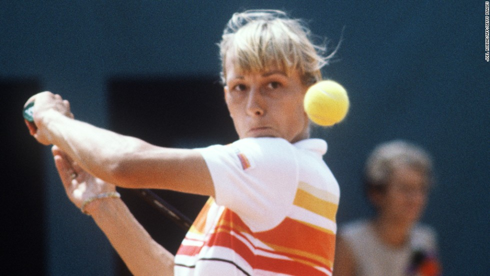 Navratilova (shown playing in 1982) recommends switching up hobbies and sports to keep fresh and continue learning. However, she says she still finds time to play tennis.
